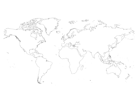 high detailed outline of world map simple thin black vector stroke on white background