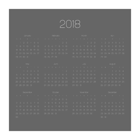 Vector calendar - Year 2018. Week starts from Sunday. Simple flat vector illustration with white numbers and letters on dark grey background.