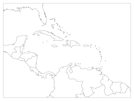 guantanamo: Central America and Carribean states political map. Black outline borders. Simple flat vector illustration.