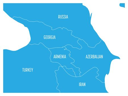 Map of Caucasian region with states of Georgia, Armenia, Azerbaijan, Russia Turkey and Iran. Flat blue map with white country borders and labels.