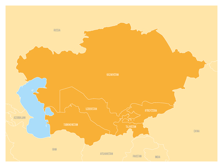 Map of Central Asia region with orange highlighted Kazakhstan, Kyrgyzstan, Tajikistan, Turkmenistan and Uzbekistan. Flat vector map with blue water, yellow lands and country name labels. Illustration