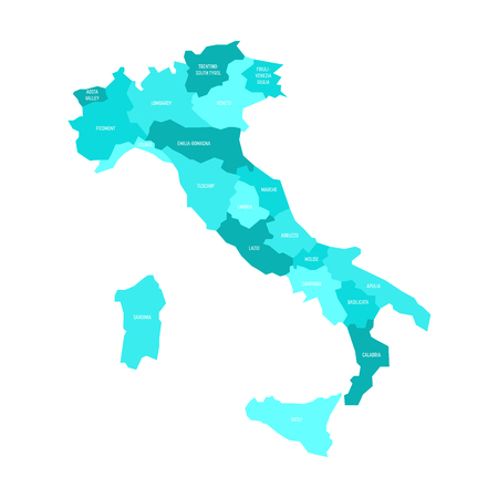Map of Italy divided into 20 administrative regions in four shades of azure blue. White labels. Simple flat vector illustration. Stock Photo