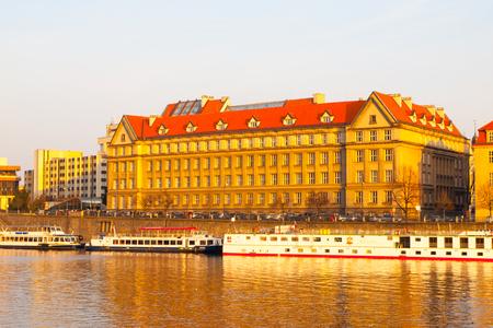 Hitorical building of Faculty of Law on Dvoraks Embankment at Vltava River. Part of Charles University in Prague, Czech Republic, Europe.