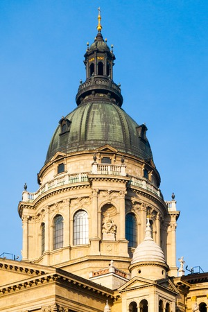 Close-up view of dome of St. Stephens Basilica in Budapest, Hungary.