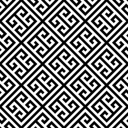 Clé grecque sans soudure de fond en noir et blanc. Motif ornemental abstrait vintage et rétro. Illustration vectorielle plane simple. Banque d'images - 79885801