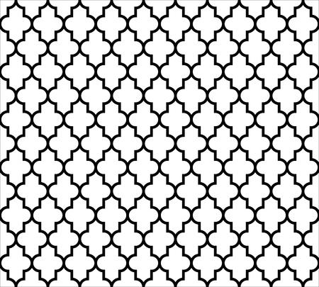 Sfondo marocchino islamico senza soluzione di continuità in bianco e nero. Vintage e retro astratto disegno ornamentale. Semplice illustrazione vettoriale piatta.