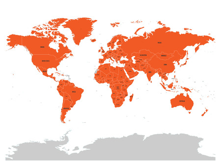 Map of United Nation with orange highlighted member states. UN is an intergovernmental organization of international co-operation. EPS10 vector illustration. Illustration