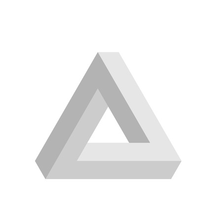 Penrose triangle icon in grey. Geometric 3D object optical illusion. Vector illustration. Illustration