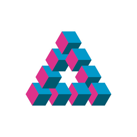 An Impossible triangle in three different colors. Cubes arranged as geometric optical illusion. Reutersvard triangle. Vector illustration.