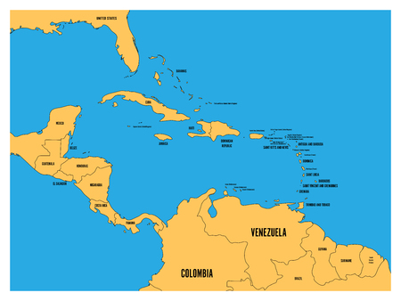 Central America and Carribean states political map. Yellow land with black country names labels on blue sea background. Simple flat vector illustration.