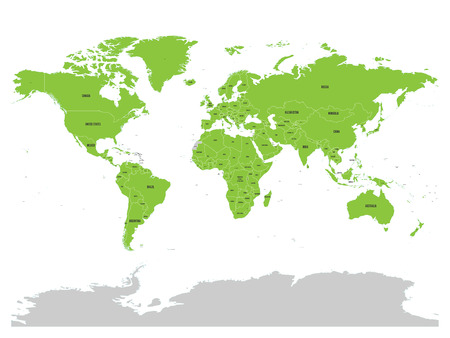 co operation: Map of United Nation with green highlighted member states. UN is an intergovernmental organization of international co-operation.