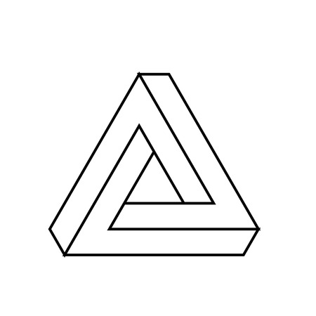 Penrose triangle icon. Geometric 3D object optical illusion. Black outline vector illustration.