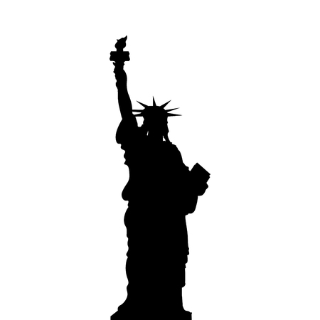 Statue of Liberty, New York, USA. Simple black vector silhouette on white background. Çizim