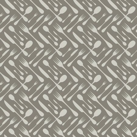 silver: Cutlery seamless vector pattern. Silverware hand implements - spoon, knife and fork grey silhouettes on dark grey background. Restaurant and meal theme wallpaper design.