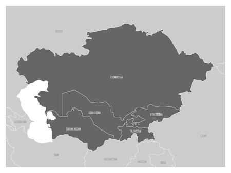 Map of Central Asia region with highlighted Kazakhstan, Kyrgyzstan, Tajikistan, Turkmenistan and Uzbekistan. Illustration