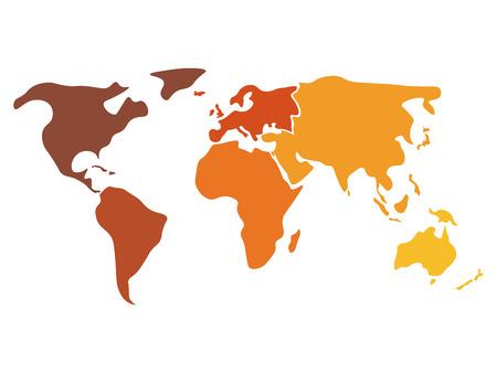 Bunte Weltkarte In Verschiedenen Farben Auf Sechs Kontinenten ...