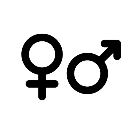 Male and female gender symbol. Simple black flat icon with rounded corners on white background. Vector illustration. Çizim