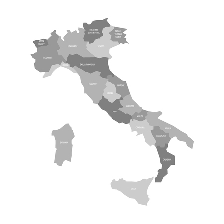 Map of Italy divided into 20 administrative regions in four shades of grey. White labels.