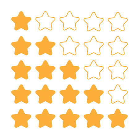 evaluate: 5 star rating set. Simple rounded shapes in grey and yellow.