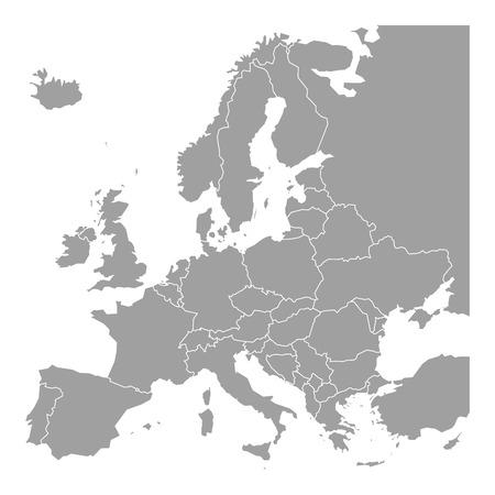Mapa en blanco de Europa. Mapa vectorial simplificado en gris con bordes blancos sobre fondo blanco.