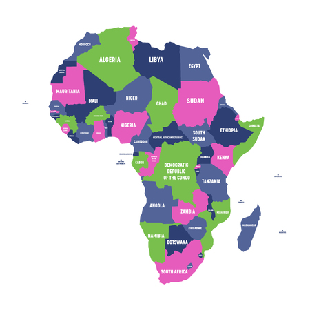 Multicolored political map of Africa continent with national borders and country name labels on white background. Vector illustration.
