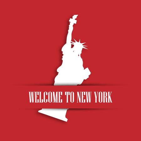 Freiheitsstatue Weißbuch schneiden in rote Grußkarte Tasche mit Label Willkommen in New York. Vereinigte Staaten Symbol und Unabhängigkeitstagthema. Vektor-Illustration. Standard-Bild - 80918565