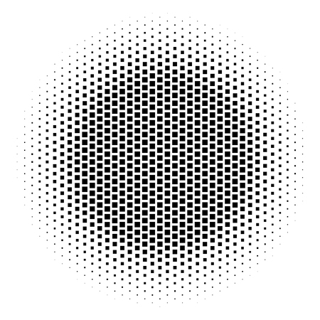 Abstract halftone gradient background circle of squares in hexagoal arrangement. Simple stylish modern design vector element in black and white. Illustration