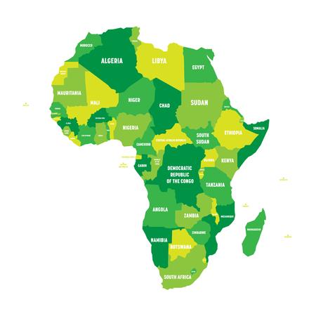 Mapa político de África en cuatro tonos de verde con etiquetas de nombre de país blanco sobre fondo blanco. Ilustración vectorial