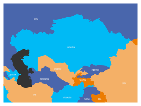 Map of Central Asia region with. Flat map in four colors with white country borders and state names. Stock Vector - 80920970