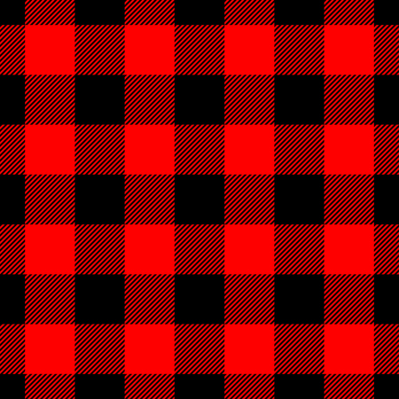 Lumberjack plaid pattern in red and black, Seamless vector pattern, Simple vintage textile design.