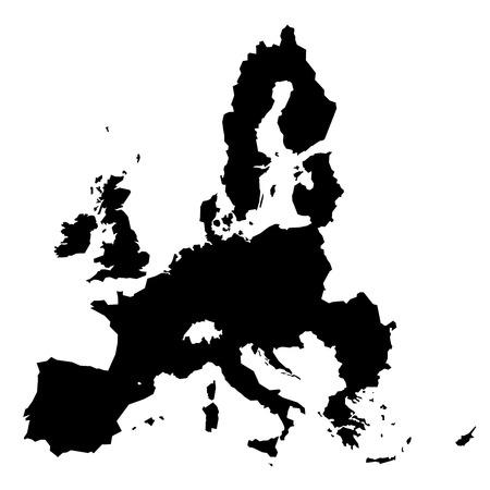 euro area: European Union territory black silhouette isolated on white background. Map of EU. Vector illustration.