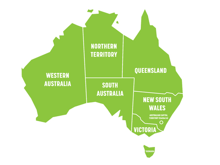 81180321 simplified map of australia divided into states and territories green flat map with white borders and white labels vector illustration