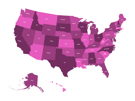 Map of United States of America, USA, in four shades of violet with white state labels. Simple flat vector illustration isolated on white background. Illustration
