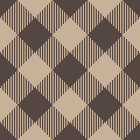 Lumberjack plaid pattern in beige color. Seamless vector pattern. Simple vintage textile design.