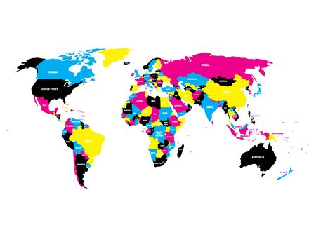 Political map of World in CMYK colors with country name labels. Isolated on white background. Vector illustration.  イラスト・ベクター素材