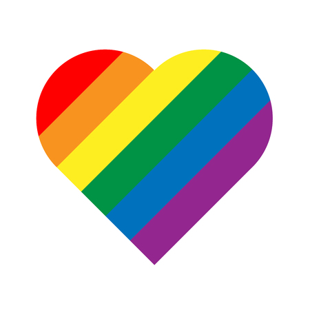 LGBT rainbow pride flag in a shape of heart. Lesbian, gay, bisexual, and transgender stylish design element. Simple flat vector illustration. Illustration