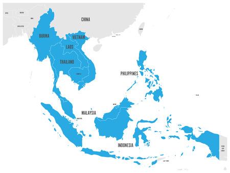 ASEAN Wirtschaftsgemeinschaft, AEC, Karte. Graue Karte mit blau hervorgehobenen Mitgliedsländern, Südostasien. Vektor-Illustration.