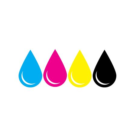 Ink drops in CMYK colors - cyan, magenta, yellow, key. Print design element theme. Simple flat vector illustration. Illustration