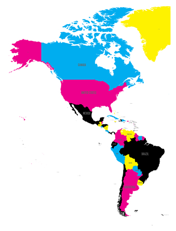 Political map of Americas in CMYK colors on white background. North and South America with country labels. Simple flat vector illustration. Illustration