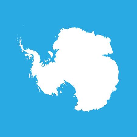 シルエットは、af 南極をマップします。高詳細な白いベクトル イラスト青の背景に分離されました。