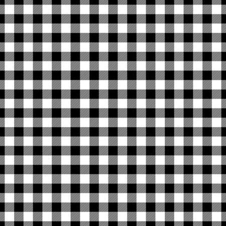 Motif à carreaux de bûcheron en noir et blanc. Modèle vectorielle continue Conception simple de textile vintage. Vecteurs