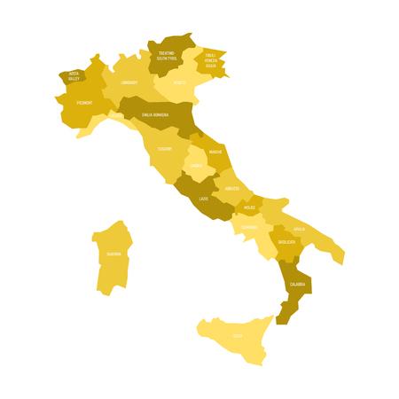 Kaart van Italië verdeeld in 20 administratieve gebieden in vier tinten geel. Witte labels. Eenvoudige platte vectorillustratie.