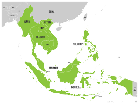 ASEAN Economic Community, AEC, map. Grey map with green highlighted member countries, Southeast Asia. Vector illustration.