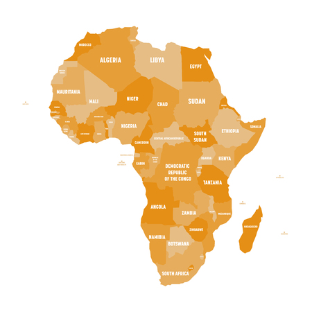 Political map of Africa in four shades of orange with white country name labels on white background. Vector illustration.