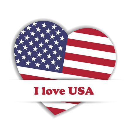 Independence Day Card. US flag in a shape of heart in the paper pocket with label I love USA. Patriotic independence theme. Vector illustration. Illustration