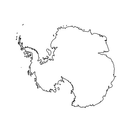antarctic: Map of Antarctica. Black outline. High detailed vector illustration isolated on white background. Illustration