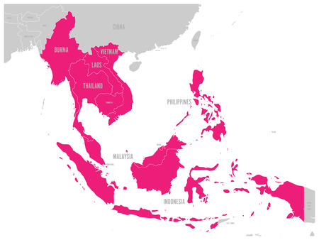 ASEAN Economic Community, AEC, map. Grey map with pink highlighted member countries, Southeast Asia. Vector illustration. Иллюстрация