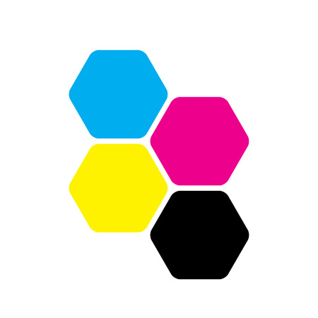 Four hexagons in CMYK colors. Printer theme. Vector illustration.