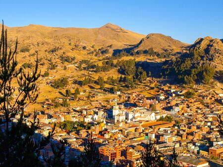 arial view: Arial view of Copacabana town with white Basilica of Our Lady of Copacabana, Bolivia, Latin America. Stock Photo