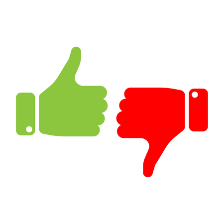 Vote thumbs up icon in red and green . Make a choice, yes or no, love it or hate it, like or dislike win or loss. Vector illustration.